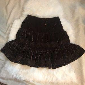 BCBG Maxazria Brown Velvet Skirt